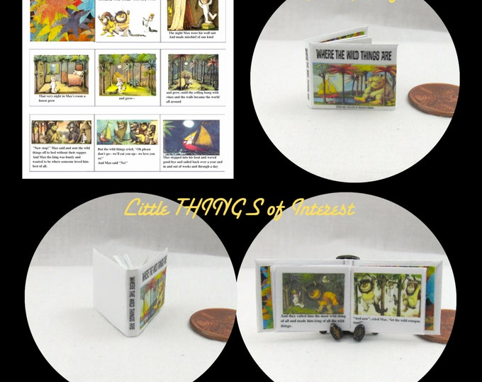 Where the Wild Things Are Miniature Book Dollhouse 1:12 Scale Readable Illustrated Book