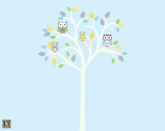 Owl tree decal, Owl tree wall sticker, Owl Nursery Art, owl wall decal, Tree Wall Decal, nursery owl decor, Summer Design