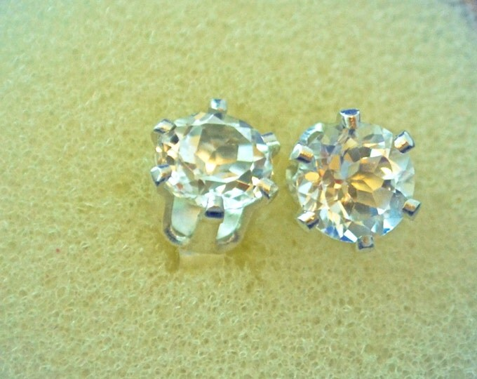 White Topaz Stud Earrings, 6mm Round, Natural, Set in Sterling Silver E541