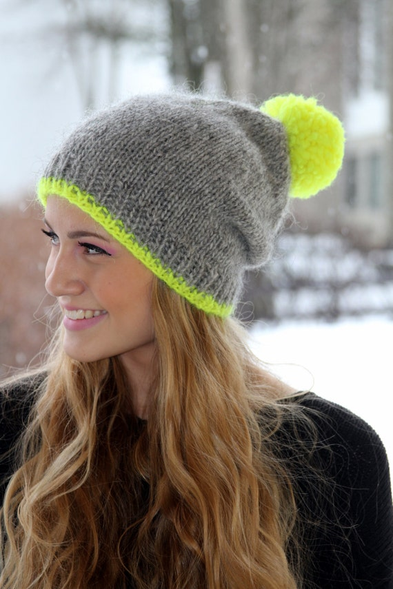Knitting Pattern Wooly Hat : Slouchy Beanie Icelandic wool hat Grey neon yellow pom pom