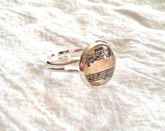 Sheet Music Ring - Sheet Music Jewelry - Musical Notes Ring - Musical Notes Jewelry (Vintage Inspired LIGHT PINK - 12mm)
