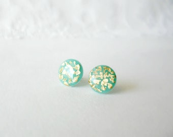 Mint  and gold stud earrings- Elegant, everyday jewelry- polymer clay earrings