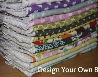 DESIGN YOUR OWN - Baby/Toddler Chenille Bibs - You Choose Your Fabric