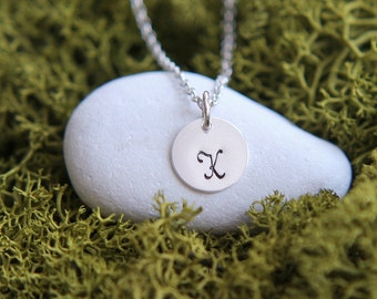 Personalized necklace, Hand Stamped Initial Necklace, Sterling Silver Personalized Necklace, Monogram Jewelry, Personalized Jewelry