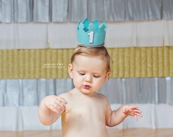 Boy Birthday Crown Headband Large First Birthday Any Age Number