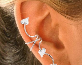 3 HEART Full Ear Spray Ear Cuff in Rhodium or Gold over Sterling Silver
