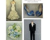 The Wedding Package (4) CUSTOM Paintings in OIL by LARA 5x7 Bridal Illustration