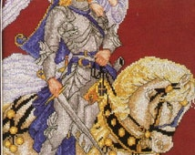 Stitch World Sir Galahad And His Angel Full Color Counted Cross Stitch Pattern Medieval Fantasy
