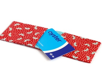 Credit Card Wallet, Oyster Card Holder, Business Card Case - Red and Aqua Blue Butterflies