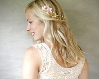 Mini Bridal Floral Hair Vine. Ivory and Blush Bridal Hair Accessory. Boho Hair Piece. Mini Hair Wreath.