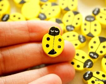 Yellow Ladybug Wood Beads x 10