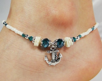 Anklet, Ankle Bracelet, Anchor Charm, Turquoise Blue, Ivory Sea Shell Chips, Beaded Beach Jewelry, Anchor Jewelry, Gift for Her, Anchor Gift