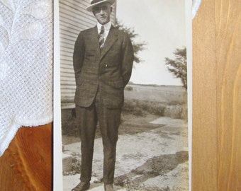 Vintage Photograph Postcard, Dapper Young Gentleman - 1930s Paper Ephemera