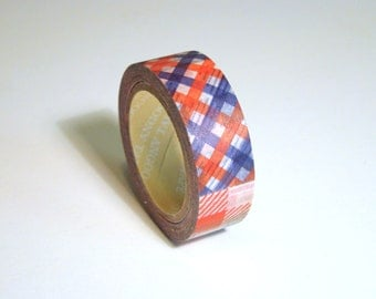 Washi Tape Roll - Cute Kawaii Colorful Plaid Design - Stationery Scrapbooking Sticker Deco 15mm x 10m