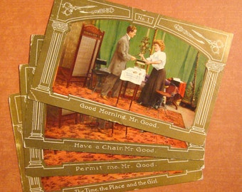 Antique Postcard Lot,  Edwardian Man & Woman - Early 1900s Vintage Paper Ephemera