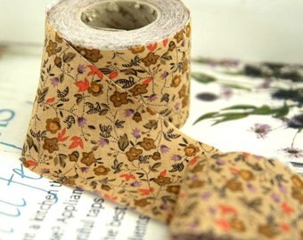2 inch Citrus Floral Cotton Bias Tape in Beige by the roll 10 Yards 48256