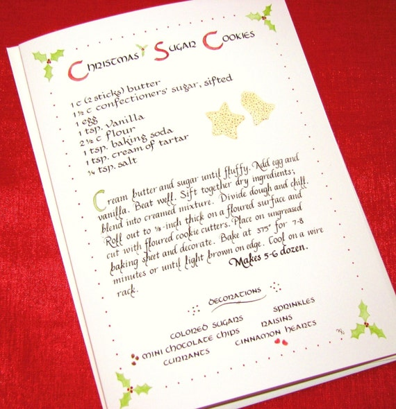 Recipe Christmas Sugar Cookies 5 X 7 Calligraphy Art