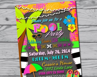 Pool party invitation / swim party / swimming party / Birthday party / summer party