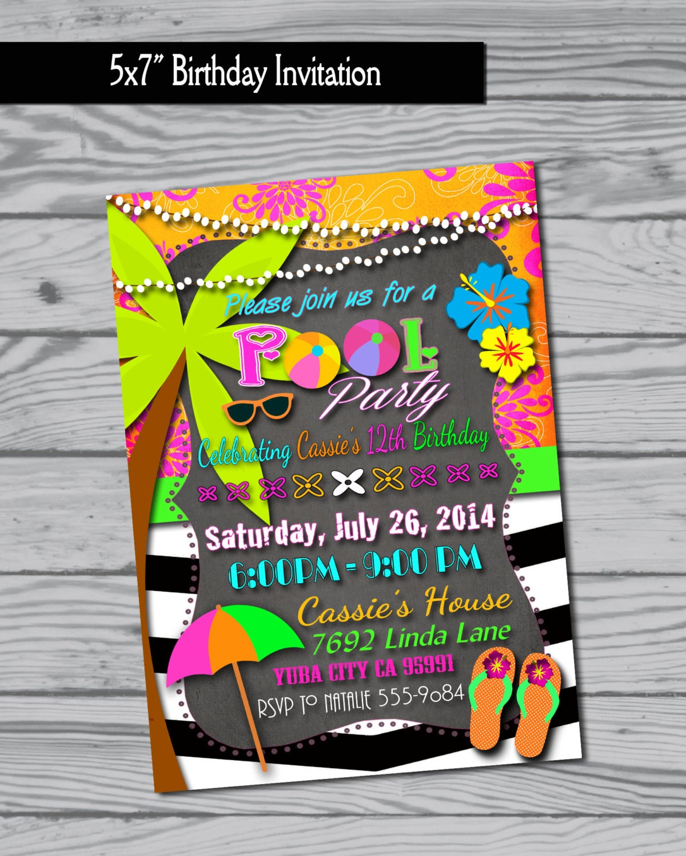Pool party invitation swim party swimming party birthday Swimming pool birthday party invitations