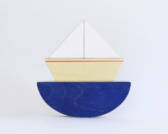 Wooden toy boat, Puzzle Toy Boat, Nautical Kids Room Decor