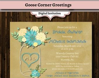 Floral Mason Jar Bridal Shower Invitation-Rustic-Wedding Shower-Mason Jar Invitation-Teal-Mason Jar-Kraft Paper