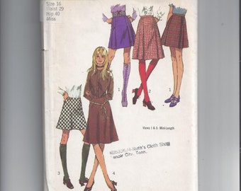 Simplicity 9649 Pattern for Misses' Set of Skirts with Mini Skirt, Size 16, from 1971, UNCUT Pattern, Vintage Pattern, Home Sewing Pattern