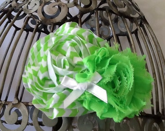 Lime green hair clip, green and white hair flower, girls hair clip, hair flower, flower hair clip, hair flower hair accessory