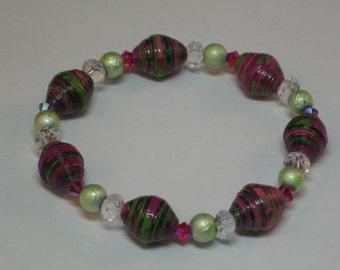 Paper bead jewelry- Paper bead bracelet- Paper beads- Recycled paper beads- Stretch bracelet- Stretchy bracelet- Paper bead stretch bracelet