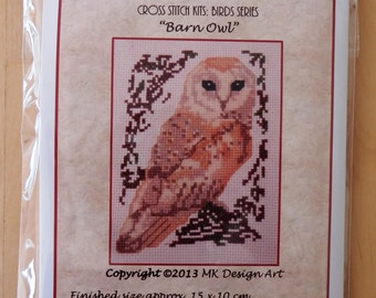 Barn Owl cross stitch kit: birds series
