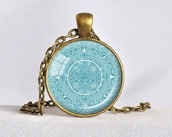 MAYAN CALENDAR PENDANT Mayan Calendar Jewelry Aztec Calendar Mayan Pendant Turquoise White Astronomy Jewelry Archaeology Jewelry