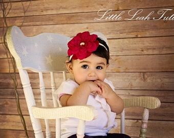 Red Ivory Dahlia Headband - Infant Flower Headband (READY TO SHIP in 1-3 Days) Toddler Headband, Newborn Headband, Photography Prop