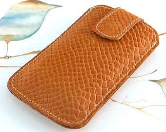 Leather Phone Sleeve, Leather Phone Case, Cell Phone Cover for iPhone 4, iPhone 5, Samsung S4, Orange Viper Embossed Leather.