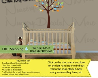 Tree Wall Stickers, Orange Tree Decal, Nursery Tree Stickers (BlueOrng/Paradise Mini Small Tree) MSmTO