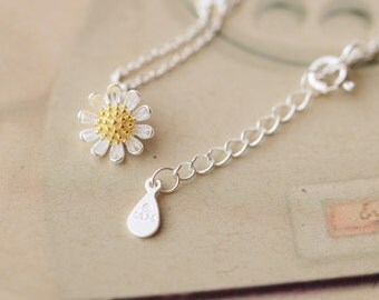 925 Sterling Silver Daisy Necklace 16''  17''  721