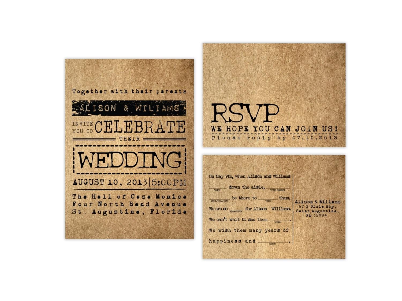Rustic Wedding Invitation Sets: Typography Rustic Wedding Invitation Set Invitation And