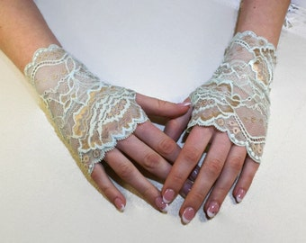 Lace Gloves Bridal Gloves Mint Green Flowers Lace Fingerless Gloves Floral Mint Gold Stretch Lace Mint Bridesmaid