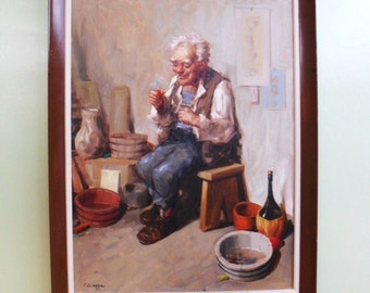 Italian  Oil  Paintingon on Canvas Signed V. Ciappa. Old Man Lighting His Pipe.