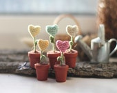 Five miniature flowers hearts in the pots, gift for mom, Valentine Decoration, potted flower, crochet art, yellow, mint, pink, pastel
