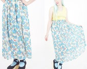Floral long skirt, blue f...