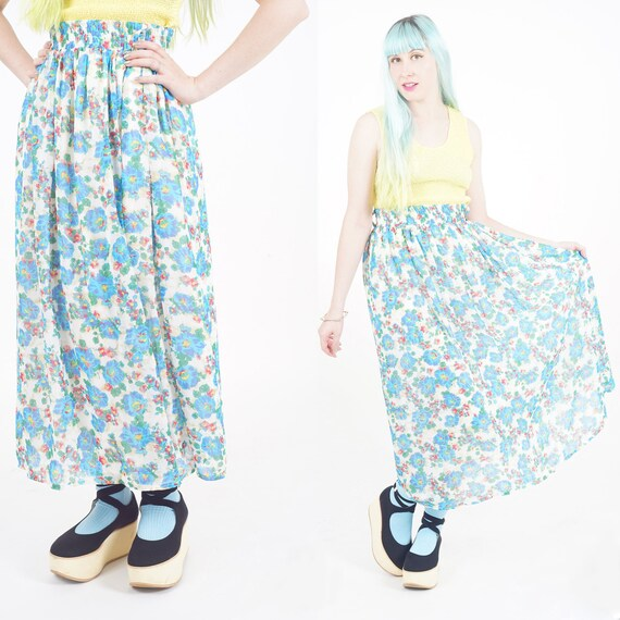 Floral long skirt, blue flower skirt, summer long skirt, sheer skirt, print skirt, retro skirt hibiscus