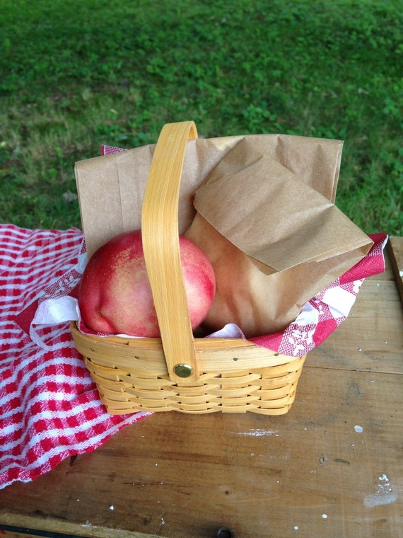 Small woven wood natural picnic basket favors by