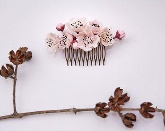 sakura Hair Comb,cherry blossom, bridesmaid, hair clip, hair accessories,polymer clay flower,gift for her