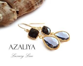 Black & Charcoal Earrings Gold Vermeil. Black Dangles. Black Faceted Stone Chandeliers. Azaliya Luxury Line Jewelry. Onyx Earrings. Gifts.