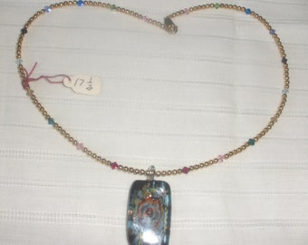 """17 1/2""""  Multi -Colored Crystal and Gold Pendant Necklace"""