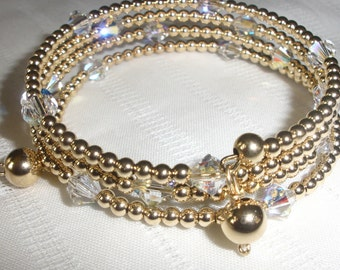 Gold and Crystal Wrapped Bracelet
