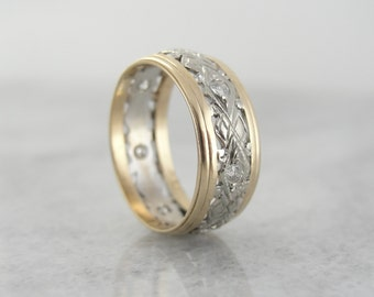 Diamond Filigree Wedding Band in Yellow and White Gold, Vintage Y8F5XP-N