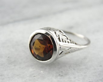 Art Deco Filigree Ladies Ring with Fine Orange Zircon Gem 9HQAJK-D