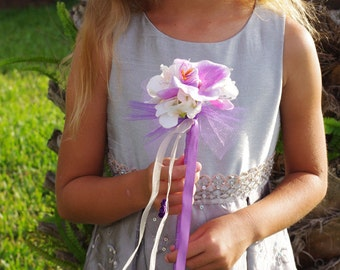 Orchid Flower Girl Wedding Princess Wand - Costumes and Parties! Your Choice of Accent Color and Details