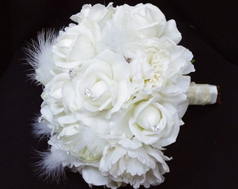 Roses & Feathers Brooch Wedding Bouquet - Natural Touch Peonies, Roses and Buds Brooch Silk Bride Bouquet