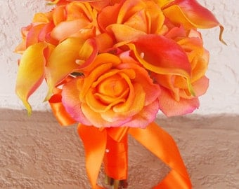 Wedding Natural Touch Orange Roses and Callas Silk Flower Bride Bouquet - Almost Fresh